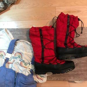 Ralph Lauren winter transformer boots red nwot